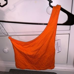 Orange one shoulder crop top, brand new